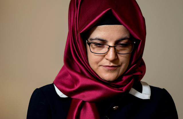 Hatice Cengiz, the fiancee of murdered Saudi journalist Jamal Khashoggi, pauses as her response to a question is translated during an interview Thursday, Sept. 26, 2019, in New York. Khashoggi had entered the consulate hoping to collect a document that would let him wed Cengiz. She waited outside for him, but he'd never return. (AP Photo/Craig Ruttle)