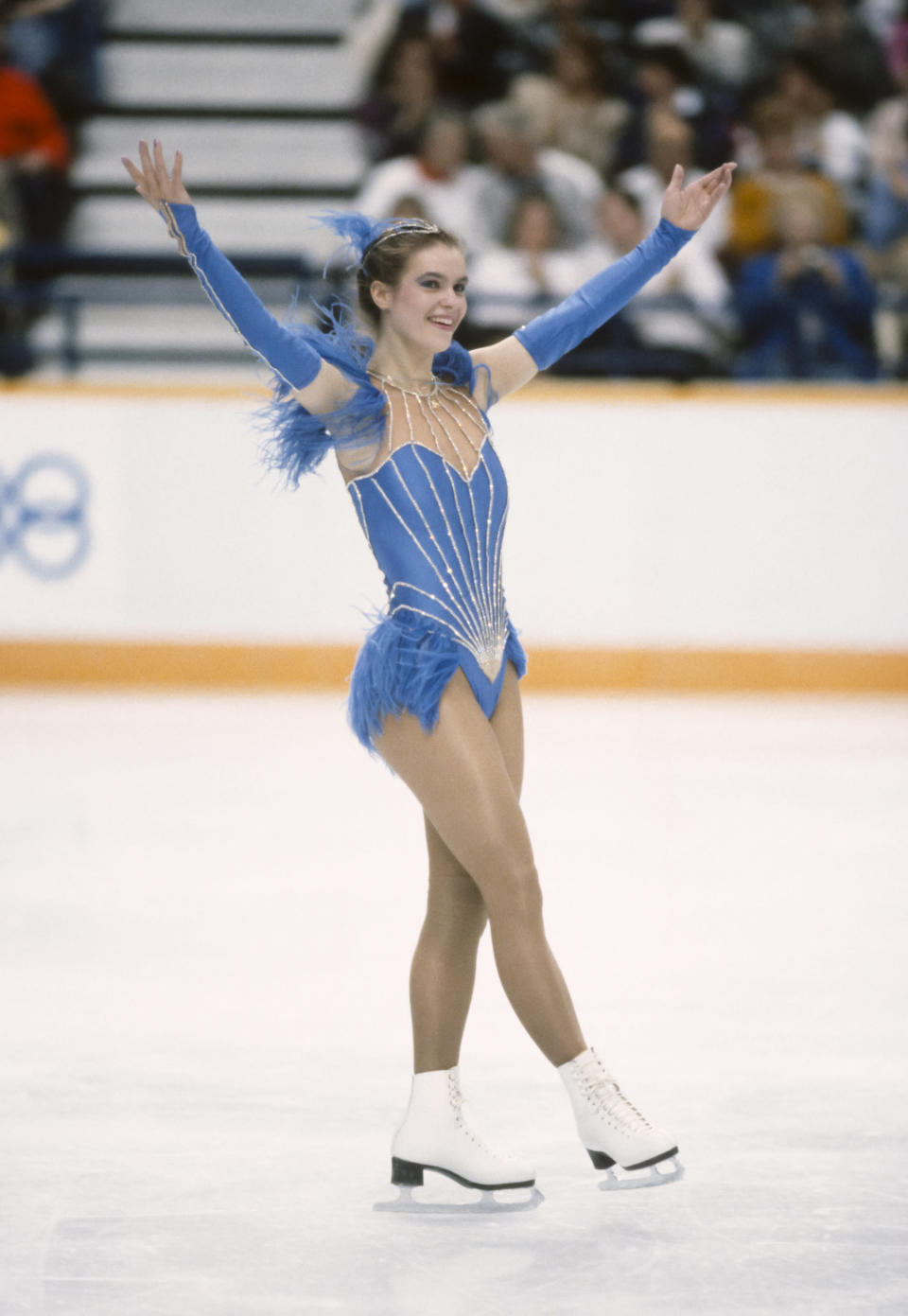 Katarina Witt in the 1988 Calgary Olympics, sporting the blue dress that sparked the so-called Katarina Rule. (Photo: David Madison/Getty Images)