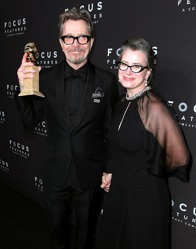<p>Golden Globe winner Gary Oldman and Gisele Schmidt attend the Focus Features Golden Globe Awards party. (Photo: Rich Fury/Getty Images) </p>