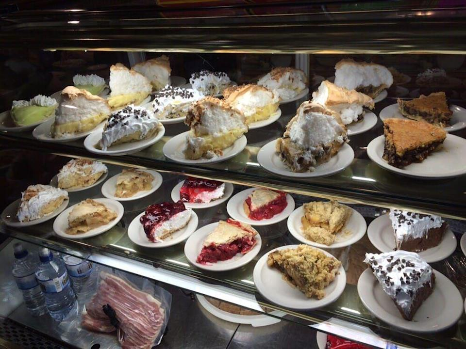 """<p><a href=""""https://www.yelp.com/biz/langes-cafe-pipestone"""" rel=""""nofollow noopener"""" target=""""_blank"""" data-ylk=""""slk:Lange's Cafe"""" class=""""link rapid-noclick-resp"""">Lange's Cafe</a> in Pipstone</p><p>Minnesota specialities like <a href=""""http://www.delish.com/cooking/recipe-ideas/recipes/a50113/tater-tot-hotdish-recipe/"""" rel=""""nofollow noopener"""" target=""""_blank"""" data-ylk=""""slk:hot dish"""" class=""""link rapid-noclick-resp"""">hot dish</a> and local walleye are what's for dinner here, but you won't be able to pass up on their homemade bakery items. A plethora of pie slices sit on display in a gleaming case to tempt you into dessert.</p>"""