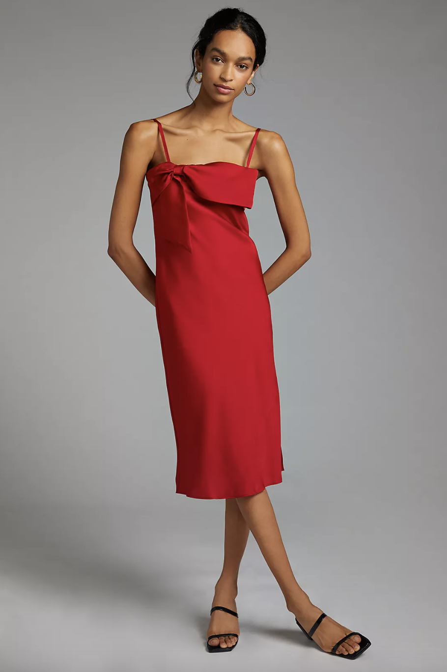 model with black hair wearing red Bow-Front Slip Midi Dress