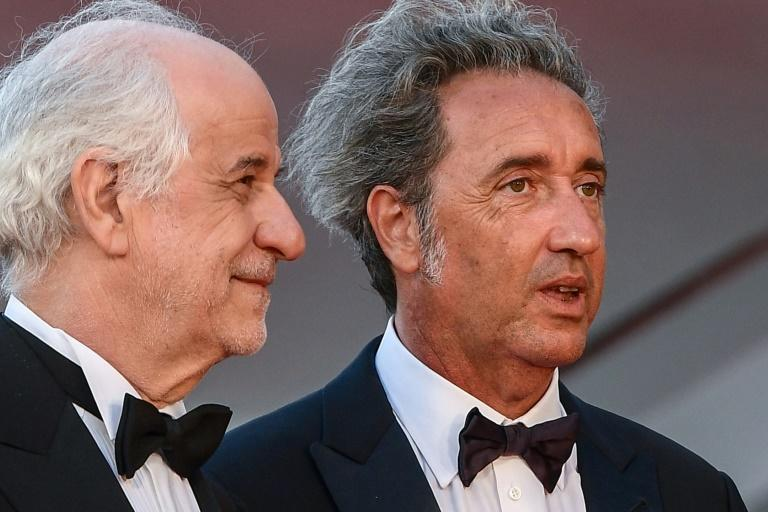 """With frequent collaborator Paolo Sorrentino for the premiere of """"The Hand of God"""" (AFP/Filippo MONTEFORTE)"""