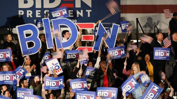PHOTO: People cheer as Democratic presidential candidate Joe Biden is announced as the projected winner in the South Carolina presidential primary on Feb. 29, 2020 in Columbia, South Carolina. (Spencer Platt/Getty Images)