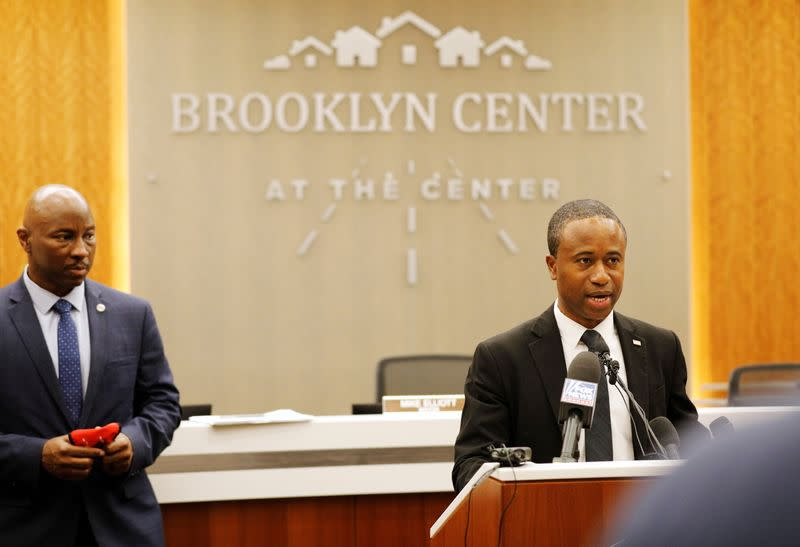 Brooklyn Center Mayor Mike Elliott speaks during a news conference at Brooklyn Center City Hall, days after former police officer Kim Potter fatally shot Daunte Wright, in Minnesota