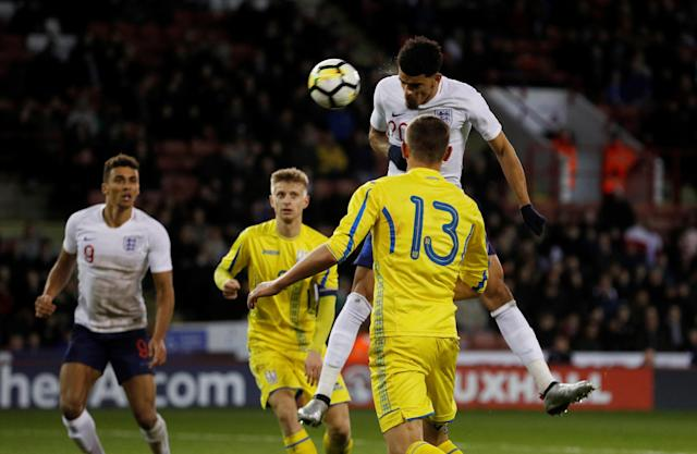 Soccer Football - European Under 21 Championship Qualifier - England vs Ukraine - Bramall Lane, Sheffield, Britain - March 27, 2018 England Dominic Solanke scores their second goal Action Images via Reuters/Lee Smith
