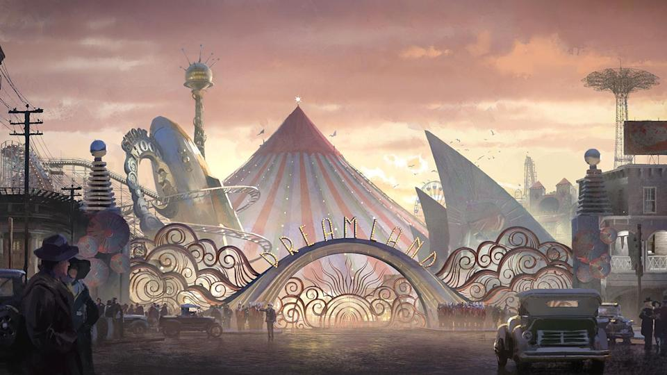The Dreamland circus, seen here in concept art, was inspired by Walt Disney's ideas for Disneyland. (Image courtesy of Disney)