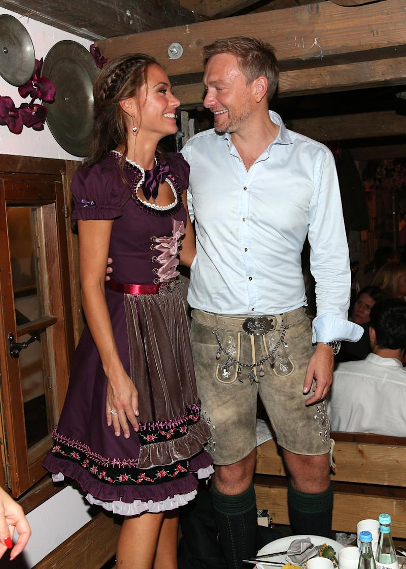 MUNICH, GERMANY - SEPTEMBER 28: Christian Lindner (FDP) and his girlfriend Franca Lehfeldt during the Oktoberfest 2019 at Kaeferschaenke beer tent / Theresienwiese on September 28, 2019 in Munich, Germany. (Photo by Gisela Schober/Getty Images)