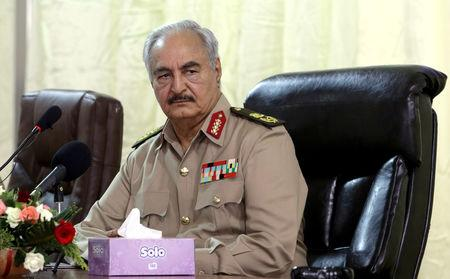 Libya's eastern-based commander Khalifa Haftar attends General Security conference, in Benghazi, Libya, October 14, 2017. REUTERS/Esam Omran Al-Fetori/Files