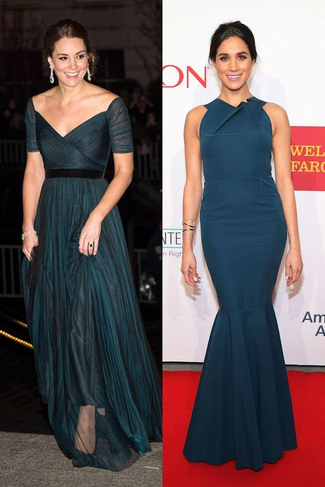 <p>The royals love to get glammed up, proven by this photo of Kate at the St. Andrews 600th Anniversary Dinner and Meghan at the Elton John AIDS Foundation's 13th Annual Benefit. </p>