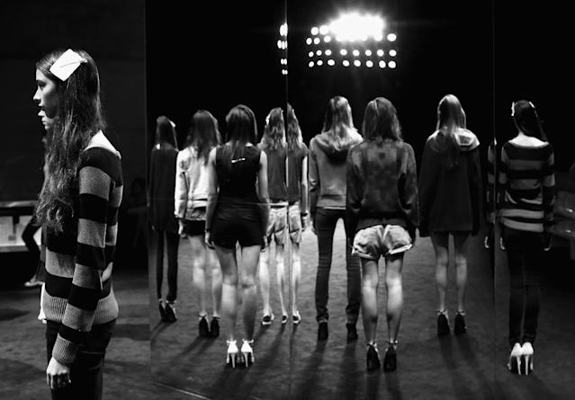 SYDNEY, AUSTRALIA - APRIL 11: (EDITORS NOTE: This digital image has been converted to black and white) Models prepare for the Suboo show during Mercedes-Benz Fashion Week Australia Spring/Summer 2013/14 at Carriageworks on April 11, 2013 in Sydney, Australia. (Photo by Ryan Pierse/Getty Images)