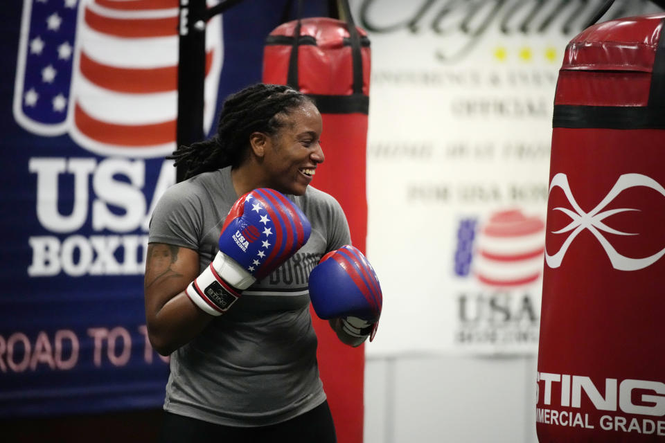 USA Boxing team member Naomi Graham takes part in drills during a media day for the team in a gym located in a converted Macy's Department store in Colorado Springs, Colo., Monday, June 7, 2021. With Claressa Shields on to her pro careers in boxing and mixed martial arts, the U.S. team needed a replacement at the weight class Shields has dominated ever since women were allowed to fight at the Olympics nine years ago. Graham is a relative newcomer to high-level boxing, only picking it up a decade ago and fighting her way to Olympic contention while also serving in the Army as an ammunition specialist. (AP Photo/David Zalubowski)