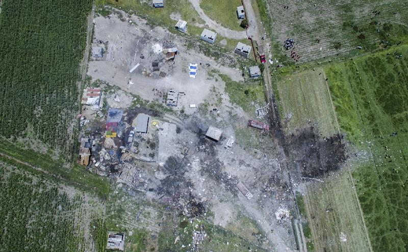 At least two dozen people died in a series of fireworks explosions in July in the town Tultepec, shown here