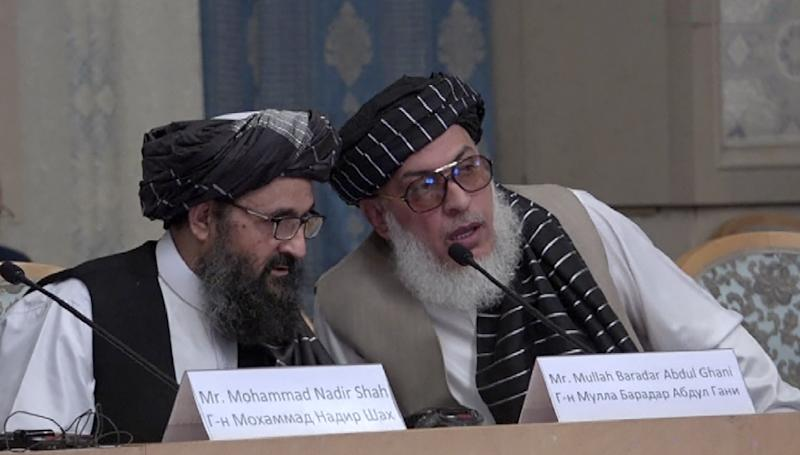 Mullah Abdul Ghani Baradar (L) and Stanikzai Sher Mohammad Abbas Abbas, of the Afghan Taliban, during May, 2019 talks in Moscow with leading Afghan politicians -- but not the Kabul administration
