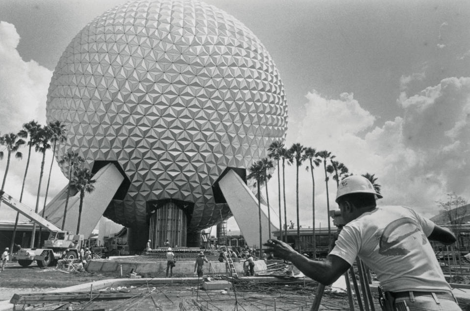 "The 305-acre park is commonly identified by its Spaceship Earth geodesic sphere. It weighs 16 million pounds and the outer ""skin"" of Spaceship Earth is made up of 11,324 aluminum and plastic-alloy triangles. (Getty Images)"