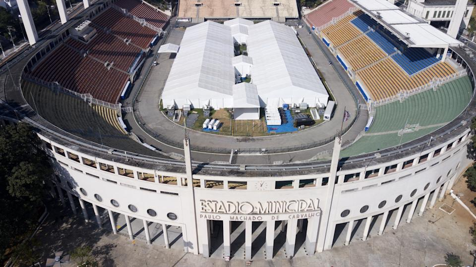SAO PAULO, BRAZIL - MAY 19: A drone photo shows Pacaembu stadium which was turned into a temporary hospital to handle coronavirus (Covid-19) cases in Sao Paulo, Brazil on May 19, 2020. (Photo by Jose Antonio de Moraes/Anadolu Agency via Getty Images)