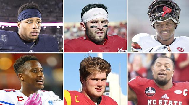 """<p>The first edition of this column ran one day shy of three months ago, and it <a href=""""https://www.si.com/nfl/2017/09/13/2018-nfl-draft-baker-mayfield-oklahoma-lamar-jackson-louisville-heisman-scouting-reports-first-round"""" rel=""""nofollow noopener"""" target=""""_blank"""" data-ylk=""""slk:centered on two guys who showed Heisman promise"""" class=""""link rapid-noclick-resp"""">centered on two guys who showed Heisman promise</a> over the first two weeks of the season.</p><p>We were right on that one. Both Oklahoma's Baker Mayfield and Louisville's Lamar Jackson were in New York for the Heisman ceremony on Saturday night. But compare the impact each has made in the time since, and there's no contest.</p><p>This fall, Mayfield helped himself as much as any draft-eligible player. His 13-game run included 4,340 passing yards, 310 rushing yards, a 71.05 completion rate, 41 touchdown passes, five touchdown runs, just five picks, a third straight Big 12 title and a birth in the playoffs. Along the way, he proved to be an improved passer from the pocket, as well as the competitor we always knew he was.</p><p>Jackson was plenty good, too. But despite another year of gaudy numbers (3,489 yards, 25 touchdowns passing; 1,443 yards, 17 TDs rushing), his team was just 8-4, knocking him from the spotlight nationally. More important to NFL types, Jackson still left them wanting for instincts and anticipation as a passer.</p><p>The bottom line? Back in September, the NFL saw both these guys as second-day types. <a href=""""https://www.si.com/nfl/2017/12/05/2018-draft-baker-mayfield-first-round-russell-wilson-johnny-manziel"""" rel=""""nofollow noopener"""" target=""""_blank"""" data-ylk=""""slk:Mayfield has taken the next steps."""" class=""""link rapid-noclick-resp"""">Mayfield has taken the next steps.</a> Jackson, spectacular as he can be, hasn't.</p><p>We're transitioning this week, from the regular-season Draft Column into the bowl season Draft Column, and so we can call this our bridge edition. And to do it (in keeping with th"""