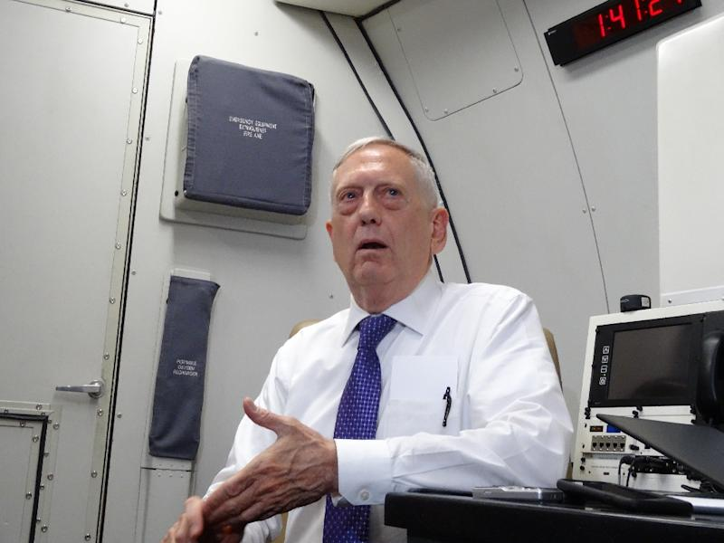 US Defence Secretary James Mattis speaks to reporters on board a flight to Jordan for the start of a regional tour on August 20, 2017 (AFP Photo/Paul HANDLEY)