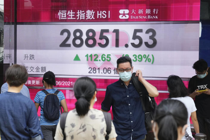People wearing face masks walk past a bank's electronic board showing the Hong Kong share index in Hong Kong, Friday, June 11, 2021. Shares were mostly higher in Asia on Friday after the S&P 500 index notched another record high despite a 5% surge in U.S. consumer prices in May. (AP Photo/Kin Cheung)