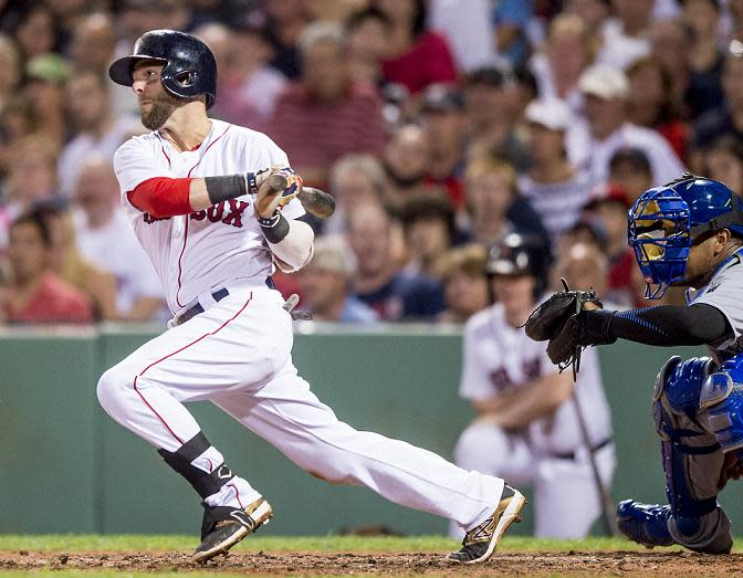 Dustin Pedroia of the Red Sox collected 11 straight hits, nearly tying an MLB record. (AP)
