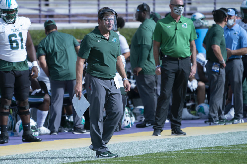 Tulane offensive coordinator Will Hall looks on from the sidelines during a game against East Carolina on Nov. 7. (Gregory Fisher/Icon Sportswire via Getty Images)