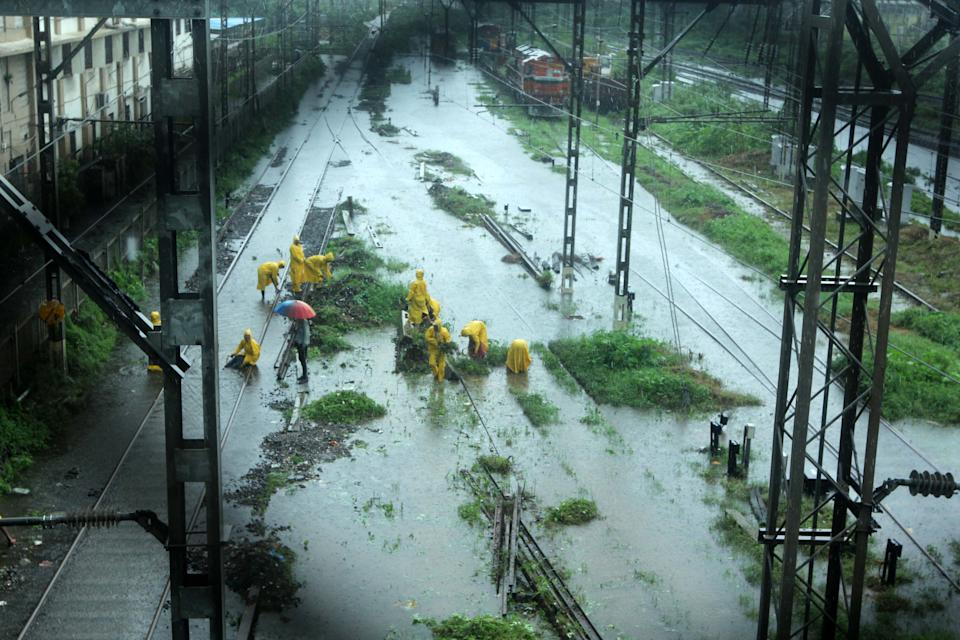 Severe water-logging on railway tracks due to heavy rains in Mumbai. (Photo by Arun Patil)