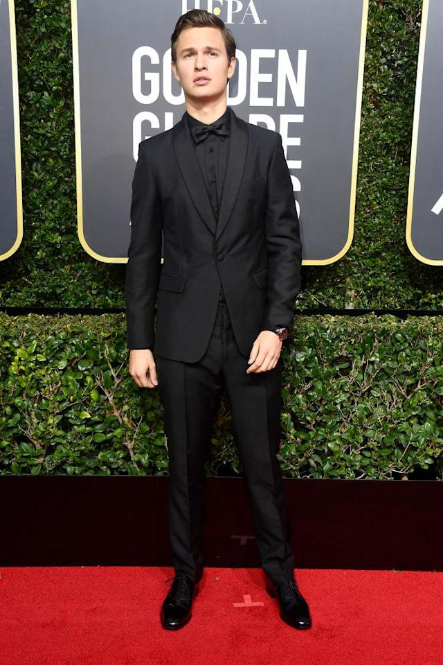 <p>The <em>Baby Driver</em> actor, a nominee for Best Actor in a Movie — Musical or Comedy, attends the 75th Annual Golden Globe Awards at the Beverly Hilton Hotel in Beverly Hills, Calif., on Jan. 7, 2018. (Photo: Steve Granitz/WireImag </p>