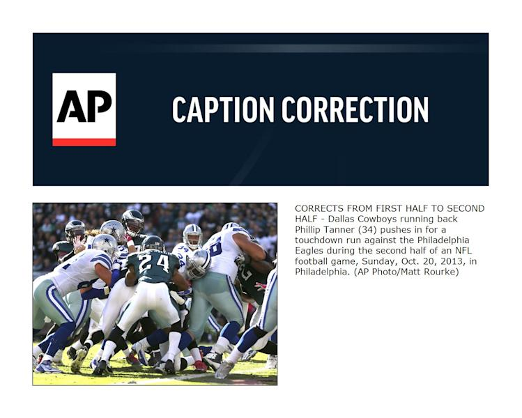 CORRECTS FROM FIRST HALF TO SECOND HALF - Dallas Cowboys running back Phillip Tanner (34) pushes in for a touchdown run against the Philadelphia Eagles during the second half of an NFL football game, Sunday, Oct. 20, 2013, in Philadelphia. (AP Photo/Matt Rourke)