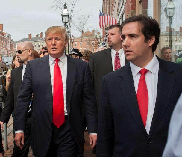 PHOTO: In this April 27 2011, file photo, Donald Trump travelled to Portsmouth, NH., fueling speculations that he might enter the presidential race. He is accompanied by staff, including personal attorney, Michael Cohen. (Rick Friedman/Polaris via Newscom, FILE)