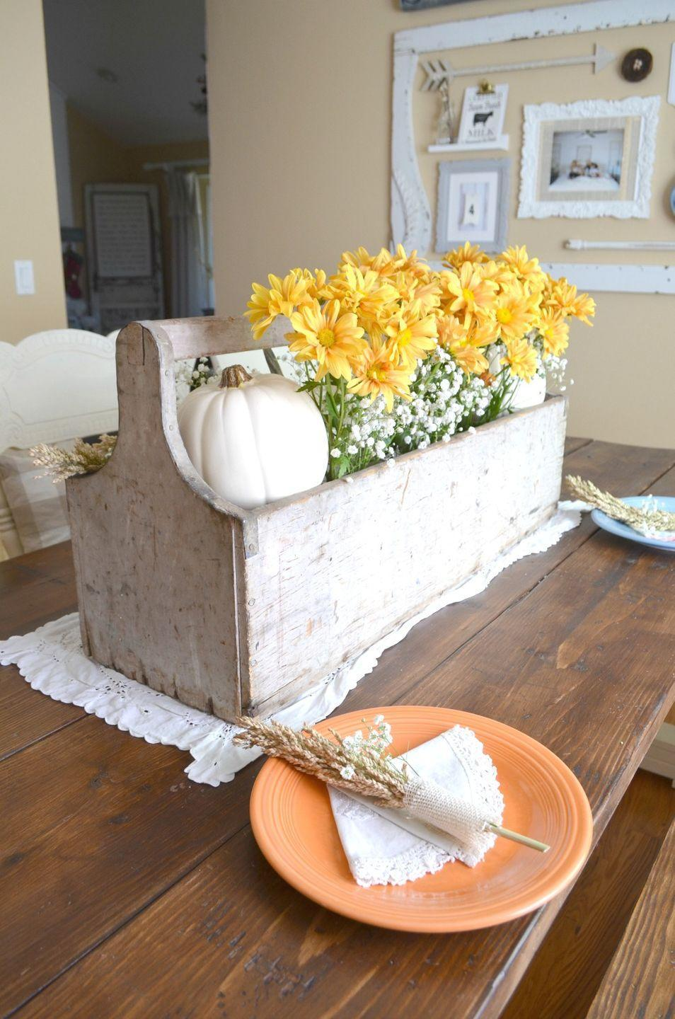 "<p>Pack a whitewashed wooden box with fresh flowers for the holiday festivities. Once the party ends, replace 'em with artificial blooms and keep it out year-round. </p><p><em><a href=""http://littlevintagenest.com/vintage-thanksgiving-table/"" rel=""nofollow noopener"" target=""_blank"" data-ylk=""slk:See more at Little Vintage Nest »"" class=""link rapid-noclick-resp"">See more at Little Vintage Nest »</a></em></p>"