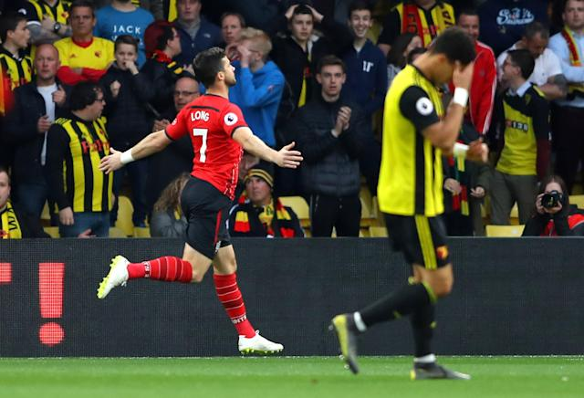 Shane Long of Southampton celebrates after scoring his team's first goal during the Premier League match between Watford and Southampton.