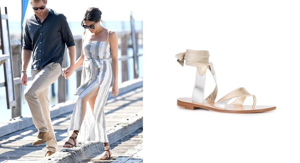 """<p>For day seven of the Duke and Duchess of Sussex's Australian royal tour, Meghan broke protocol in a thigh-split dress by Reformation. For those of you disappointed that the look has since sold out, look no further than Sarah Flint for the royal's favourite sandals – they can be yours for £277. <a rel=""""nofollow noopener"""" href=""""https://www.farfetch.com/uk/shopping/women/sarah-flint-grear-sandals-item-11866604.aspx?clickref=1011l5GgVqpj&utm_source=skimlinks_phg&utm_medium=affiliate&utm_campaign=PHUK&utm_term=UKNetwork&pid=performancehorizon_int&c=skimlinks_phg&clickid=1011l5GgVqpj&af_siteid=305950&af_sub_siteid=1011l274&af_cost_model=CPA&af_channel=affiliate&is_retargeting=true"""" target=""""_blank"""" data-ylk=""""slk:Shop now"""" class=""""link rapid-noclick-resp""""><strong>Shop now</strong></a>. <em>[Photo: Getty]</em> </p>"""
