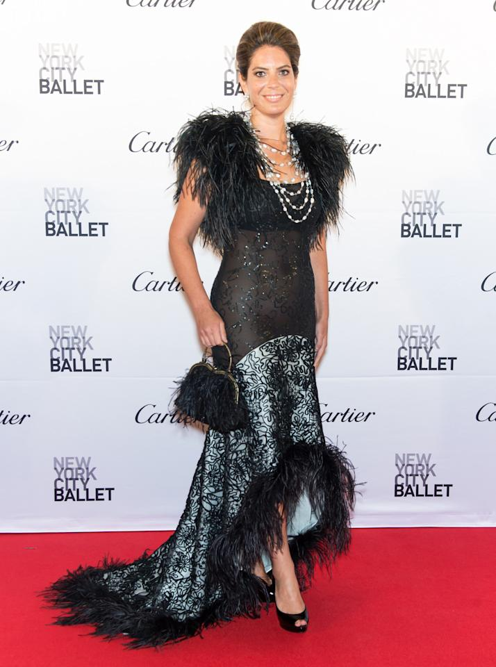 <p>Feathers, sparkles, lace, and beads! Miss diCocco did not miss any form of embellishment here. (Getty Images) </p>