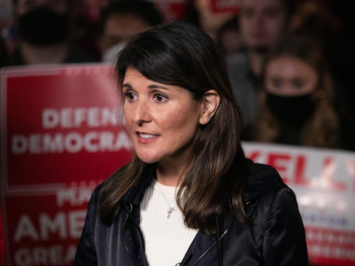 Former U.N. Ambassador Nikki Haley takes questions from the media during a rally on December 20, 2020 in Cumming, Georgia.  (Getty Images)