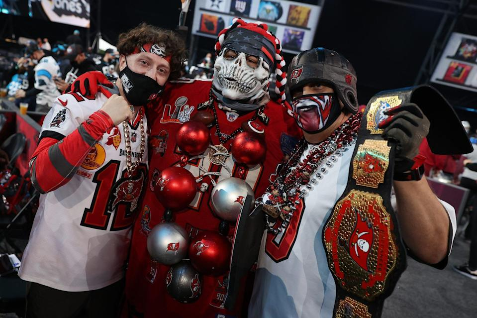 <p>Fans represented their teams at Cleveland's FirstEnergy Stadium, including 2021 Super Bowl champions the Tampa Bay Buccaneers, who selected Joe Tryon as their first-round pick.</p>