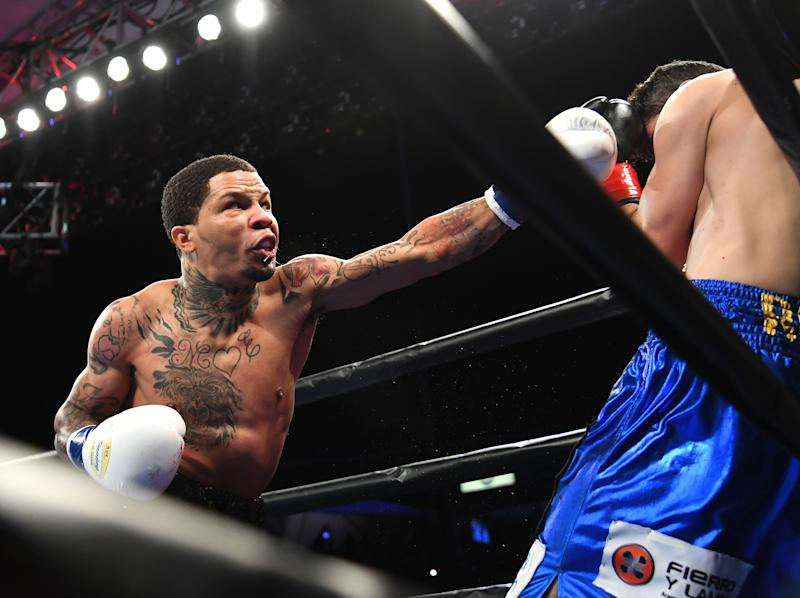 CARSON, CA - FEBRUARY 09: Gervonta Davis (black shorts) knocks out Hugo Ruiz (blue shorts) in the first round of their WBA Super Featherweight Championships fight at StubHub Center on February 9, 2019 in Carson, California. (Photo by Jayne Kamin-Oncea/Getty Images)
