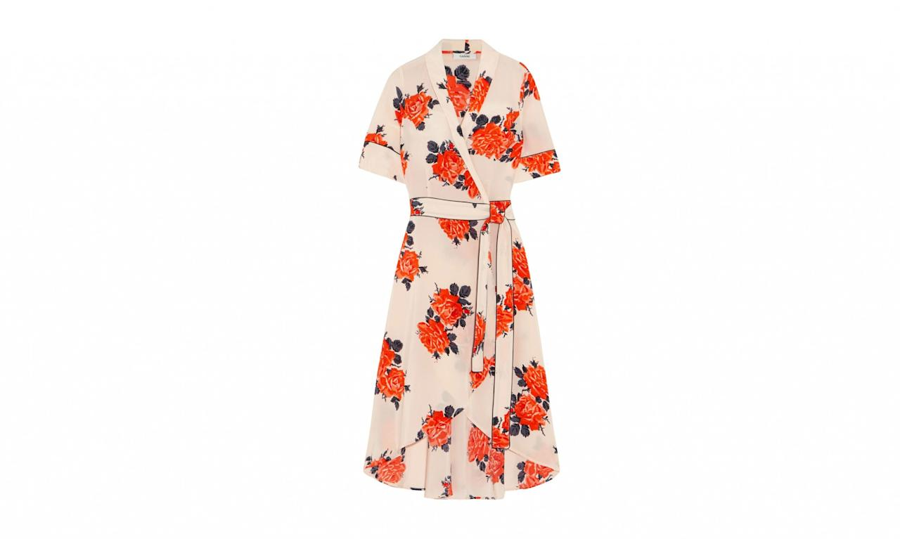 "<p>Harness Floral-Print Silk Crepe de Chine Wrap Dress, $440, <a rel=""nofollow"" href=""https://www.net-a-porter.com/us/en/product/884254/ganni/harness-floral-print-silk-crepe-de-chine-wrap-dress"">net-a-porter.com</a> </p>"