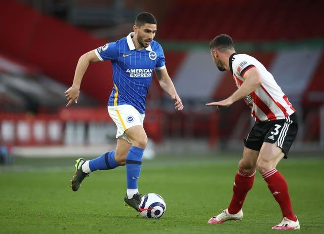 Neal Maupay, left, had a glorious chance to equalise in the second half