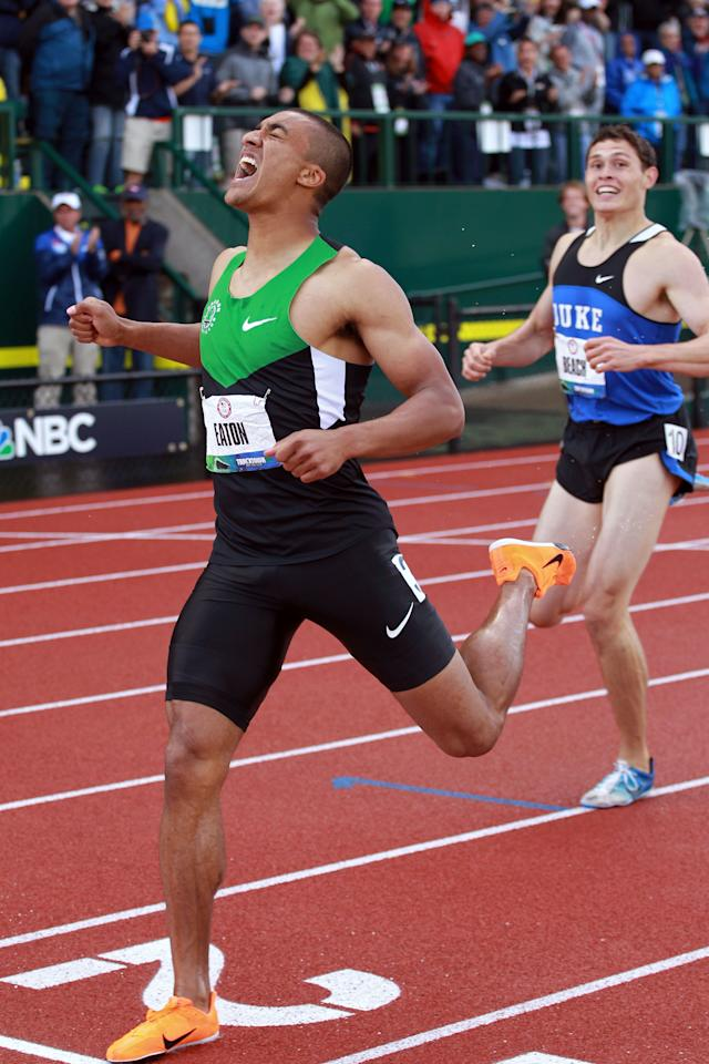 EUGENE, OR - JUNE 23:  Ashton Eaton reacts after breaking the world record in the men's decathlon after competing in the 1500 meter run portion during Day Two of the 2012 U.S. Olympic Track & Field Team Trials at Hayward Field on June 23, 2012 in Eugene, Oregon.  (Photo by Andy Lyons/Getty Images)