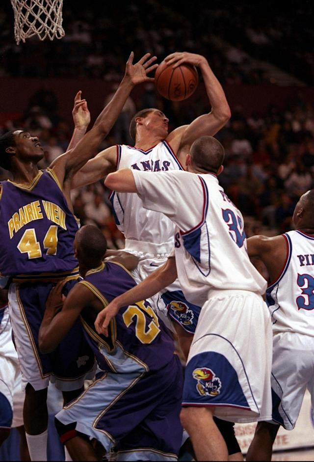 <p>On the other side of the coin, the biggest blowout in the matchup's history was in 1998, when Kansas bullied Prairie View for a 110-52 win. That 58-point margin remains the largest in any tournament game since the tournament expanded in 1985.<br>-NCAA.org </p>