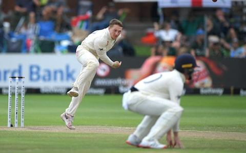 England bowler Dom Bess in bowling action during Day Three of the Third Test between England and South Africa on January 18, 2020 in Port Elizabeth, South Africa - Credit: Getty Images Europe