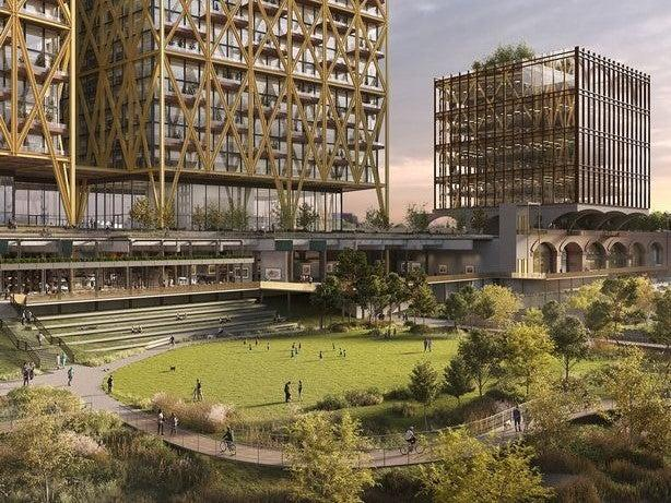 The proposed new park on the old Mayfield Railway depot in Manchester (Mayfield Partnership)