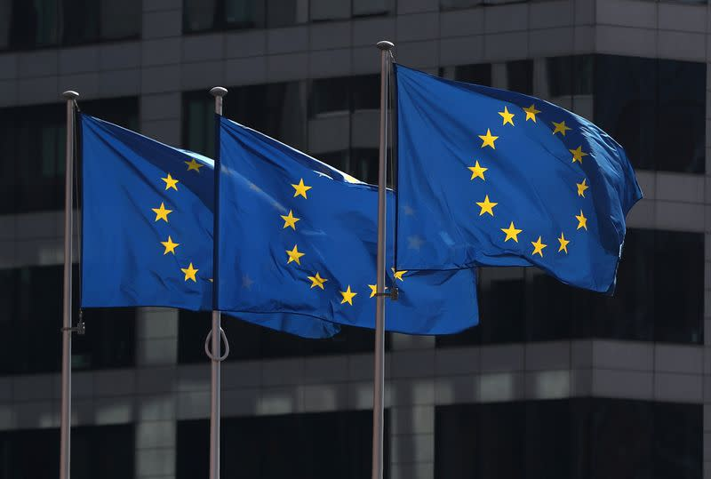 usFILE PHOTO: European Union flags fly outside the European Commission headquarters in Brussels