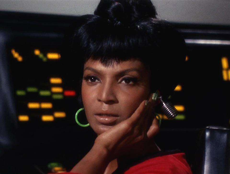 """Nichelle Nichols appears as Uhura in a scene from """"The Man Trap,"""" the premiere episode of <em>Star Trek</em>, which aired on Sept. 8, 1966. (Photo: CBS Photo Archive/Getty Images)"""