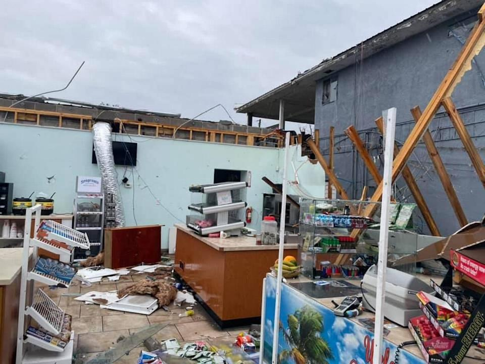 A convenience store in Florida's Panama City Beach is destroyed by a tornado that reportedly touched down around 11:30 a.m. Saturday, April 10, 2021, according to the Panama City Government Facebook page.