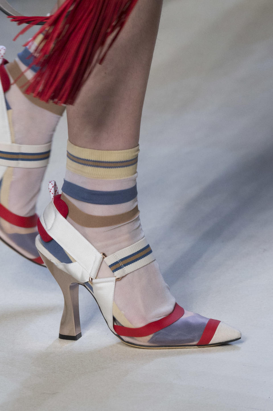<p><i>Colorful elastic heels from the SS18 Fendi collection. (Photo: ImaxTree) </i></p>