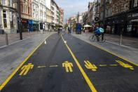 Social distancing signs in Cardiff city centre as the coronavirus disease (COVID-19) outbreak continues in Cardiff, Wales