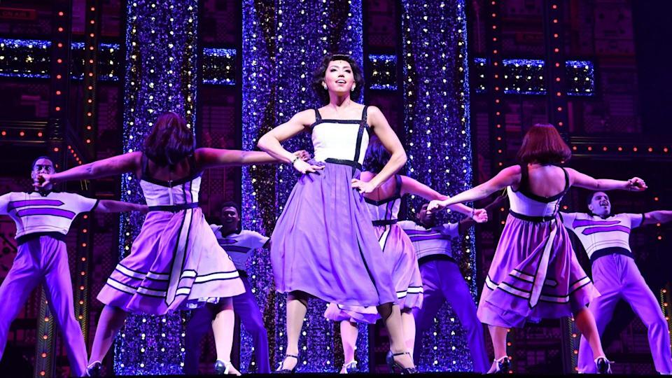 Mandatory Credit: Photo by Darren England/EPA-EFE/Shutterstock (9764593l)Chloe Zuel (C) is seen performing during the media call for 'Beautiful: The Carole King Musical' at QPAC (Queensland Performing Arts Centre) in Brisbane, Queensland, 18 July 2018.