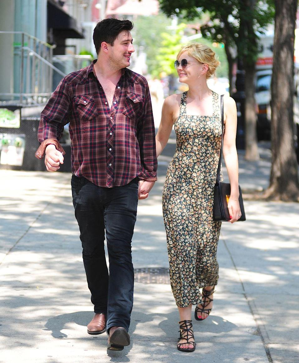 "<p>Mulligan married the Mumford & Sons singer in 2012, but she prefers to keep their relationship out of the public eye. ""Marcus is the only thing that's mine that I can keep totally away, so I try to,"" she <a href=""https://www.vogue.com/article/carey-mulligan-broadway-skylight-may-cover"" rel=""nofollow noopener"" target=""_blank"" data-ylk=""slk:said in a 2015 interview"" class=""link rapid-noclick-resp"">said in a 2015 interview</a>. They share two children together.</p>"