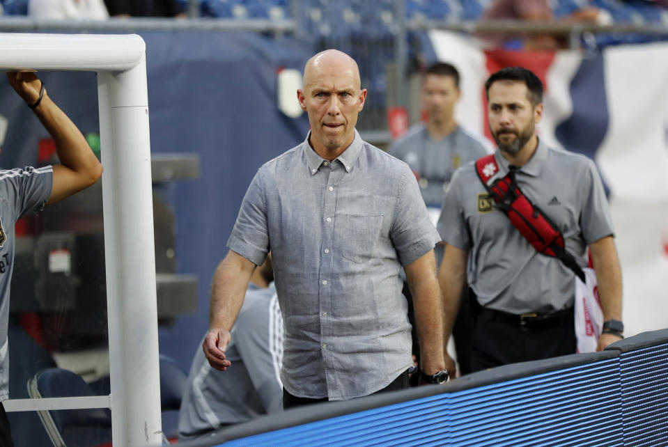 FOXBOROUGH, MA - AUGUST 03: Los Angeles FC head coach Bob Bradley walks to the bench before a match between the New England Revolution and Los Angeles FC on August 3, 2019, at Gillette Stadium in Foxborough, Massachusetts. (Photo by Fred Kfoury III/Icon Sportswire via Getty Images)