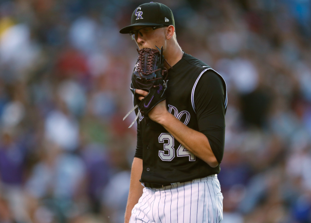 "<a class=""link rapid-noclick-resp"" href=""/mlb/players/9896/"" data-ylk=""slk:Jeff Hoffman"">Jeff Hoffman</a> did the walk of shame in Wednesday's loss to Arizona (AP)"